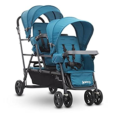 Joovy Big Caboose Graphite Stand On Triple Stroller, Turq