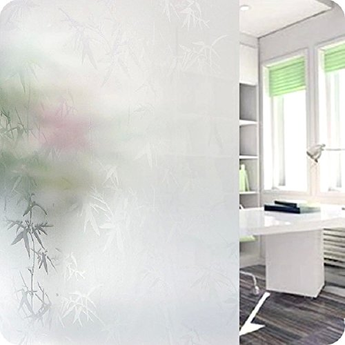 Privacy Window Film Frosted Window Film Static Cling Glass Film Self Sticker Window Film for Home Bathroom 17.7
