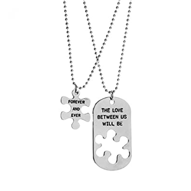 1079a10b3b Couple Relationship Necklaces BESTOYARD Puzzle Necklace The Love Between Us  Will Be Forever and Ever Engraved Valentine Gift: Amazon.co.uk: Jewellery
