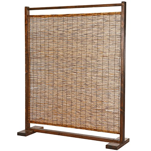 MyGift Rustic Style Wood and Reed Single Panel Privacy Screen Room Divider from MyGift