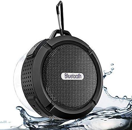 Nuevo Altavoz Bluetooth portátil, Altavoz Bluetooth a Prueba de Agua con reproducción de 6 h, Potente Sonido HD, Ventosa y Gancho Fuerte, Compatible con iOS, Android, PC, Almohadilla (Black-6)