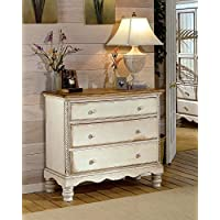 Hillsdale Furniture 1172-772 Wilshire 42.25 Bedside Chest with 3 Drawers Tongue and Groove Drawer Bottoms and Solid Pine Wood Construction in Antique