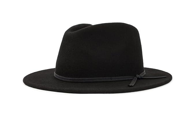 d56436f260e ... uk brixton mens coleman medium flat brim felt fedora hat newsie cap  black 6866b f7cec