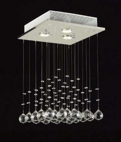 JAC D LIGHTS J10-C9071S-3us Modern Rain Drop Lighting Crystal Ball Fixture Pendant Chandelier, 18 by 12-Inch