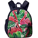 Hemp Palm Flamingo Funny Kids Bags Boys And Girls School Backpack