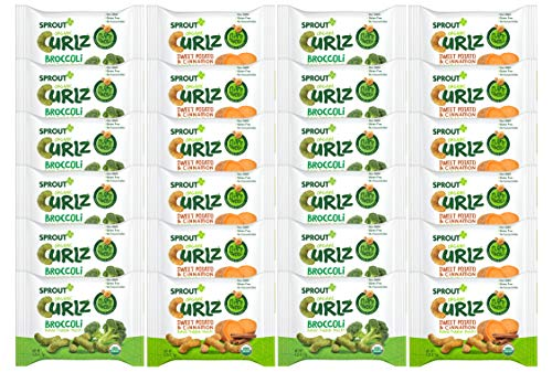 Sprout Organic Curlz Toddler Snacks, Variety Pack, 0.25 Ounce (24 Count)  Single Serve Packets 12 of Each: Broccoli and Sweet Potato & Cinnamon (0.25 Ounce Bar)