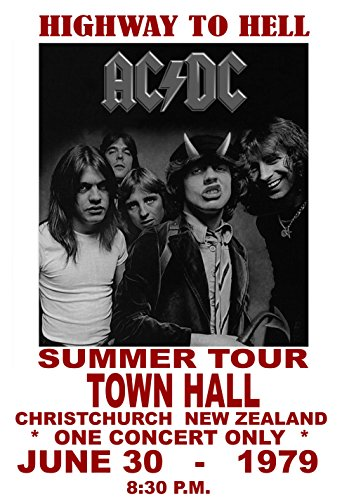 (Gatsbe Exchange AC DC Concert Poster 1979 New Zealand Rock and Roll Legends Live Forever 12 X 18)