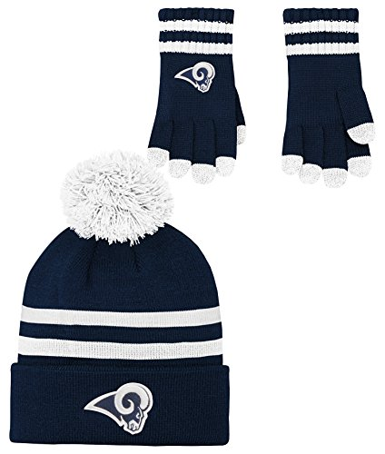 NFL Boys (4-7) 2 Piece Knit Hat and Gloves Set-Dark Navy, Los Angeles Rams-One Size