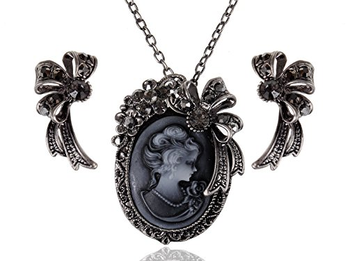 Alilang Womens Gunmetal Tone Black Vintage Inspired Victorian Cameo Lady Ribbon Necklace Earrings Set