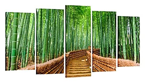 Creative Art Bamboo Path Canvas Prints Contemporary Art Modern Wall Decor 5 Panel Wood Mounted Giclee Canvas Art Framed Artwork for Living Room/Office, Decoration Ready to - Bamboo Wall Decals