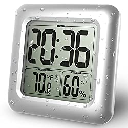 BALDR Digital Bathroom Waterproof Alarm Clock New Modern Design Shower Clock with LCD Time Display Temperature Display Gauge Indoor Humidity Water Resistant Wall Clock for Washroom, Bathroom, Living