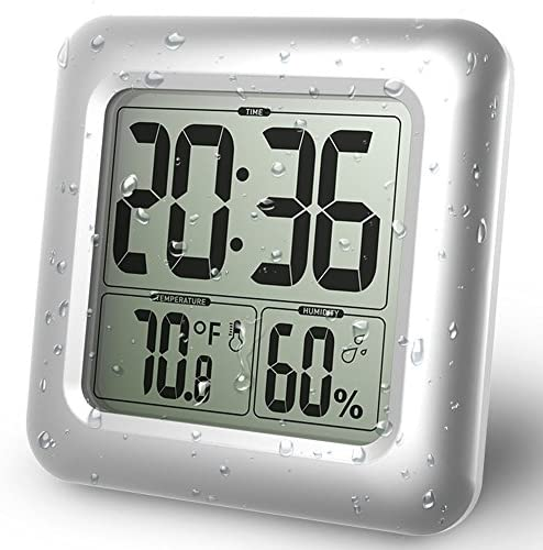 BALDR Digital Shower Clock Waterproof – Perfect for The Bathroom, Large LCD Display – Monitor Temperature and Humidity – Thermometer Hygrometer – Made from Shatterproof Fiberglass