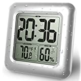 BALDR LCD Waterproof Shower Clock, Wall Mounted, Displays Time, Temperature, and Indoor Relative Humidity