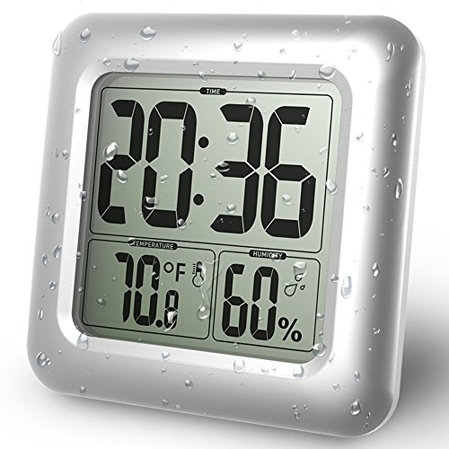 BALDR Digital Bathroom Shower Clock, Waterproof for Water Spray, Large Display, Temperature, Humidity and Moisture, Thermometer Hygrometer, Suction Cups, Wall Clock