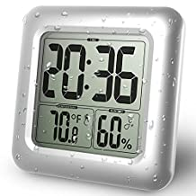 BALDR LCD Waterproof Bathroom Clock for Bath and Shower, Wall Mounted, Suction Cups, Digital Displays Time, Temperature, and Indoor Relative Humidity