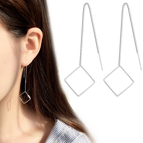 - Tgirls Korean Style Geometry Square Pendant Earrings for Women Chic Ear Line for Girls (Silver Color) EH-25