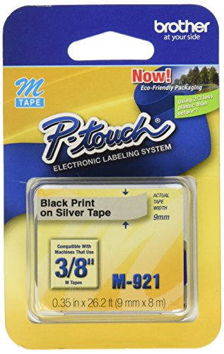 Brother M-921 Black Print on Silver 3/8-Inch M Tape