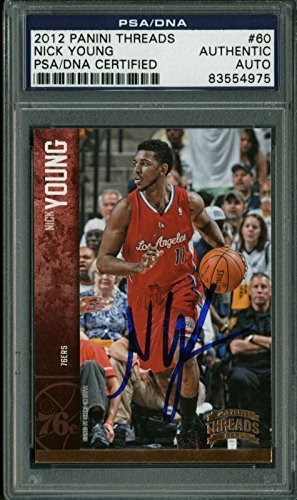 76Ers Nick Young Signed Card 2012 Panini Threads #60 Slabbed - PSA/DNA Certified - Basketball Slabbed Autographed Cards