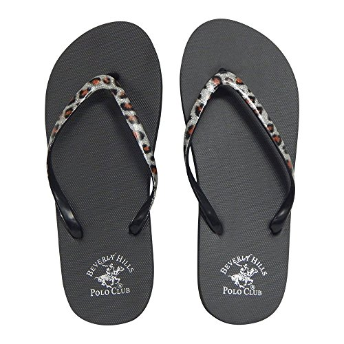 Beverly Hills Polo Club Leopard Women's Flip Flop Sandal Thong (8 US, Silver)
