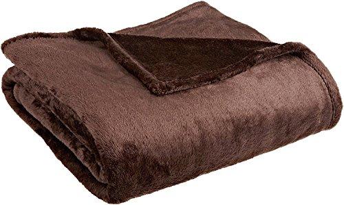 Luxurious Solid Velvet Velour Blanket Twin Size Brown