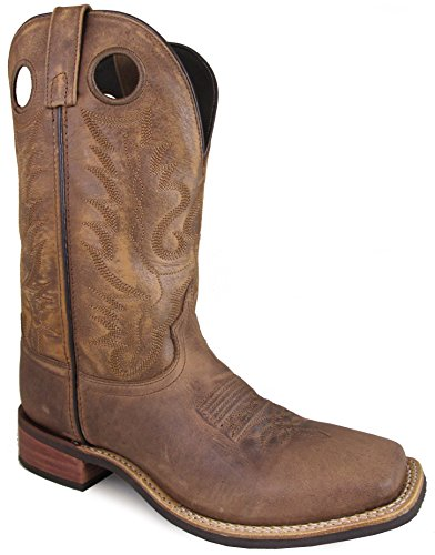 Smoky Mountain Men's Timber Pull On Closure Stitched Design Square Toe Brown Distress Boots 8D ()