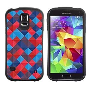 LASTONE PHONE CASE / Suave Silicona Caso Carcasa de Caucho Funda para Samsung Galaxy S5 SM-G900 / Quilted Blued Red Pattern Tiles