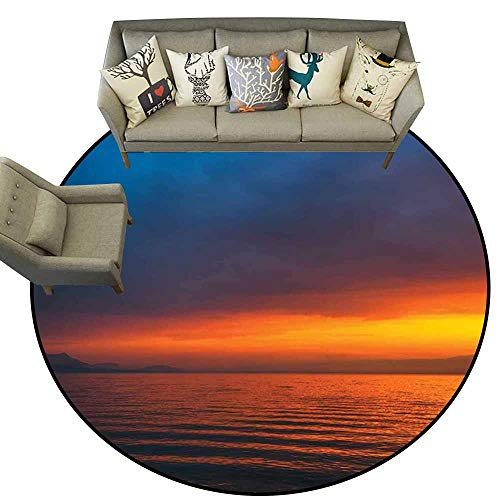 Round Area Rug Carpet,Seascape,Sunset Over The Lake Dusk Cloudy Sky Calm Evening Water Reflection Waves,Orange Petrol Blue,Dining Room Bedroom Carpet Floor Mat 4