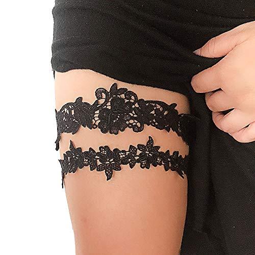 shinyis Black Wedding Garter Set with Toss Garter and Keepsake Garter Black Lace Leg Garter