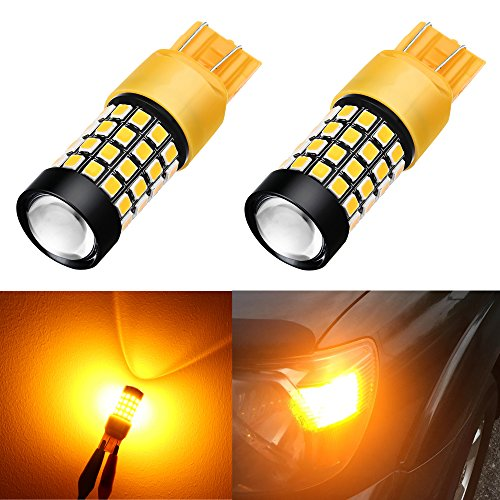 Alla Lighting 1000Lm 51-SMD Extremely Super Bright Amber Yellow T20 W21W 7441 7443 7440 LED Bulbs High Power 2835 Chipsets LED Lights Lamps Replacement
