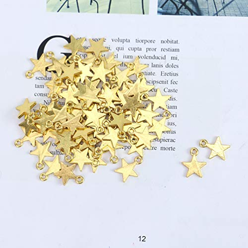 (Monrocco 100 PCS Mini Star Charms 15 x 12 mm Polished Surface Vintage Antique Gold Alloy Star Charms DIY Jewelry Crafting Bracelet and Necklace)