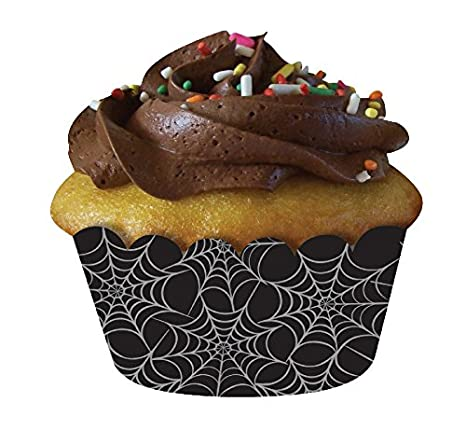 Creative Converting 12 Count Spiderweb Cupcake Wrappers, Black