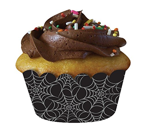 Creative Converting 12 Count Spiderweb Cupcake Wrappers, (Creative Halloween Cakes)