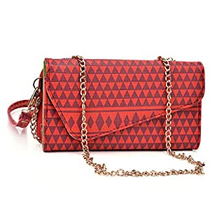 Kroo Red Tribal Pattern Wallet fits Nokia RM-875 Case