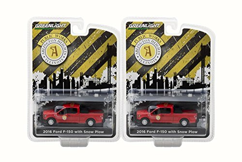 (Box of 12 Diecast Model Cars - 2016 Ford F-150 Pickup Truck Arlington Heights Illinois Public Works with Light Bar and Snow Plow Pickup Truck, Red, 1/64 Scale)