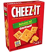 Cheez-It, Baked Snack Cheese Crackers, Reduced Fat Original, Made with 100% Real Cheese, 6oz Box(...