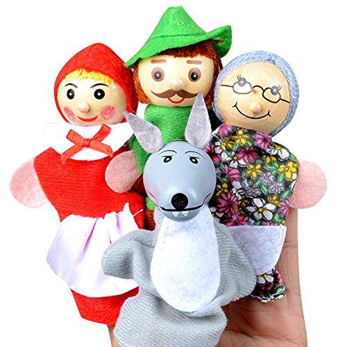 Fairy Tale Puppets Set - Happy Cherry Story Finger Puppet Set Fairy Tale Finger Toys Plush Soft Puppet Set Family Cartoon Puppet Set Cute Style Finger Dolls Little Red Riding Hood 4PCS