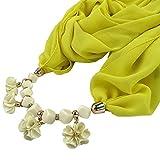 Dabixx Womens Geometric Beads Necklace Flowers Pendant Wrap Chiffon Scarf Shawl Ethnic 11#