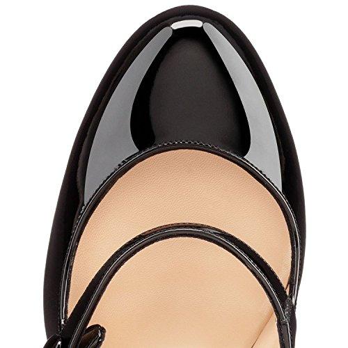 Arc-en-Ciel zapato de tacón alto punta redonda Mary Janes de la mujer Negro