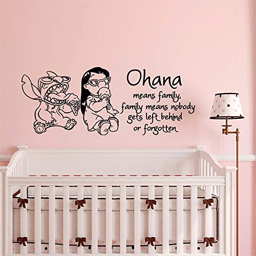 Quotes Wall Stickers Removable Vinyl Art Decal Ohana Means Family Family Means Nobody Gets Left Behind Or Forgotten for Living Room Girls Bedroom ()