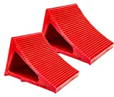 Tire & Wheel Chock - Ideal Camping Accessory for RV Motorhome, Trailer, Truck, Motorcycle & Car. Weatherproof, Outdoor Grade, Polyurethane Better Than Rubber or Plastic, 5 Year Warranty, 2 Pack Red
