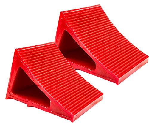 Tire & Wheel Chock - Ideal Camping Accessory for RV Motorhome, Trailer, Truck, Motorcycle & Car. Weatherproof, Outdoor Grade, Polyurethane Better Than Rubber or Plastic, 5 Year Warranty, 2 Pack Red by Elasco Products (Image #1)