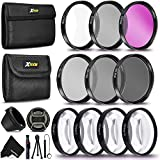 PRO 55MM Lens Filter Accessory Kit 18-55mm Lens Includes (UV FLD CPL) ND Filters Set (ND2 ND4 ND8) 4 Close-up Macro Filters (+1 +2 +4 +10), Lens Hood for Nikon, Sony DSLR Cameras + More Accessories