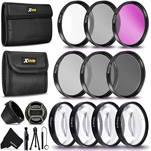 PRO 58MM Lens Filters Kit (UV FLD CPL) + 58mm Close Up Macro Filters (+1 +2 +4 +10) + 58mm ND Filter Kit (ND2 ND4 ND8) + 58mm Lens Hood + Xtech Camera Accessories Starter Kit + More