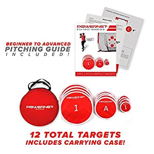 PowerNet Pitch Perfect Targets, Practice 5X5 Net and Strike Zone Attachment Bundle | Baseball Softball Pitching Trainer | 3 Size Target Set | Increase Pitching Throwing Accuracy Location Strikes