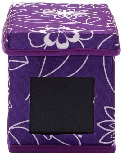 nexxt Write on CD Storage Collection 5 by 5-3/4 by 10-Inch Floral Style Printed Fabric Storage Box