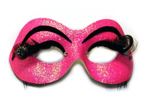 [Cabaret Hot Pink Eyelash Women's Masquerade Mask] (Cabaret Costumes For Men)