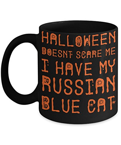 Halloween Russian Blue Cat Mug - White 11oz Ceramic Tea Coffee Cup - Perfect For Travel And Gifts -