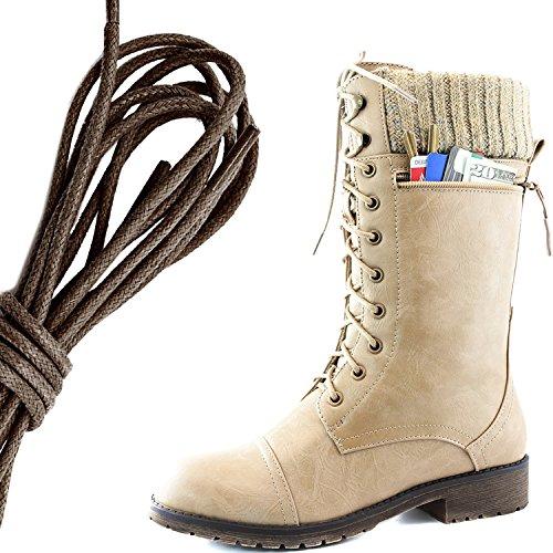 Dailyshoes Womens Bekämpa Stil Snörning Fotled Toffeln Rund Tå Militära Sticka Kreditkorts Kniv Pengar Plånbok Ficka Stövlar, Mörkbrun Beige Pu