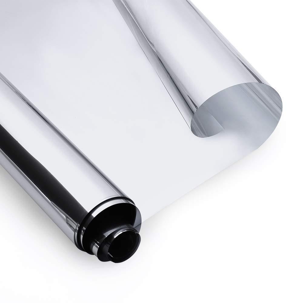 rabbitgoo Pellicola a Specchio per Finestre Riflettente 44.5x200cm Anti 99% UV Pellicola Privacy Unidirezionale Controllo del Calore per Ufficio Casa GLOBEGOU WZ CO. LTD