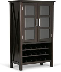 SIMPLIHOME Kitchener 18-Bottle SOLID WOOD 32 inch Wide Contemporary High Storage Wine Rack Cabinet in Hickory Brown